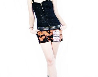 50% OFF SALE Agoraphobix Bleach Babe destroy print bleached shorts | punk pants