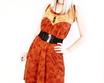 50% OFF SALE Agoraphobix Street Beat African print brown heart bust steampunk dress