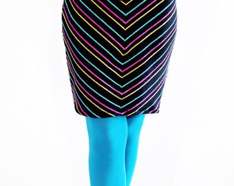 30% OFF SALE Agoraphobix Dance On Glass Chevron rainbow stripe drawstring knit mini skirt