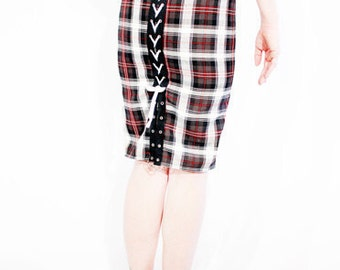 Special order for froggiealicia Agoraphobix Punk Army tartan plaid corset high waist pencil skirt | tartan skirt
