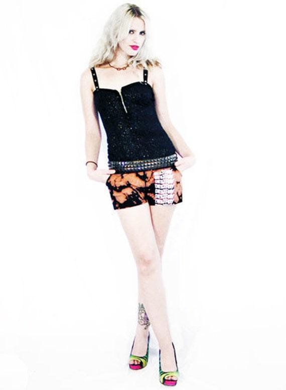 50% OFF SALE Agoraphobix Bleach Babe destroy print bleached shorts | punk pants