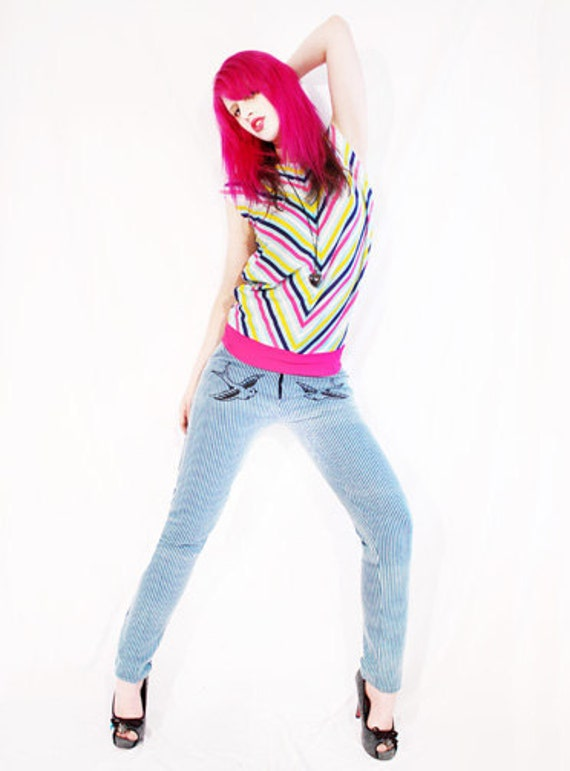 Agoraphobix Ahoy Sailor nautical blue stripe swallow print skinny jeans | striped pants