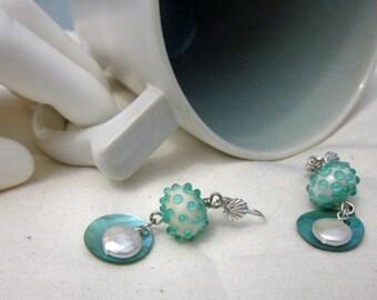 White and Aqua Earrings - Lampwork with Coin Pearl Drops - Ocean inspired earrings