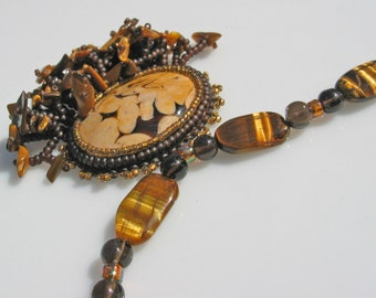 Handmade Tiger Eye Necklace - Western inspired - Boho style necklace - bead embroidered