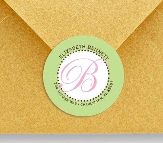 custom labels, return address labels, personalized stickers, round labels, monogram