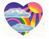 Vintage 1983 Lisa Frank  Large Sun Rays and Rainbow Heart Sticker 3 inch