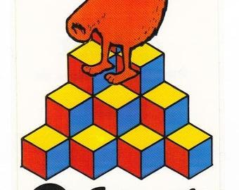 Vintage 1983 Arcade Q bert sticker mod 80's