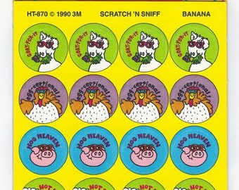Scratch and Sniff BANANA Stickers by 3M Post-it NIP Vintage 1990 Sealed Pack