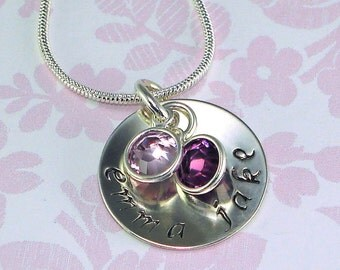 Personalized Hand Stamped Jewelry Mothers Necklace Swarovski Birthstone Sterling Silver Charm BFF Mom Grandmother Anniversary Engagement