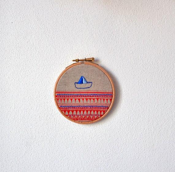 round dream Sailboat 1 - mixed media hanging wall (4'' diameter)