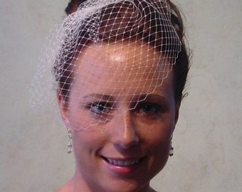 Small Birdcage Blusher Wedding Veil Ready to Ship in Ivory