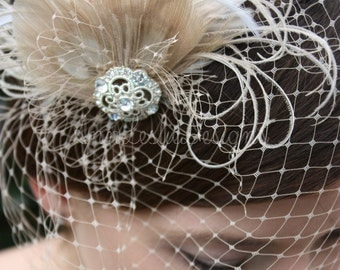 As Seen in Style Me Pretty -  Champagne Birdcage Veil with Feather Fascinator - Made to Order