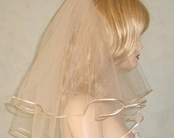 Short and Sassy Bridal Veil Cord Edge Modern Wedding Veil Made to Order