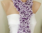 CLERANCE SALE-Tulle Lilac and Purple with Tulle Ruffles Scarf