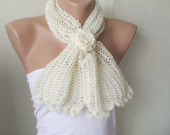 SALE %50 OFF-Cream Soft Neckwarmer for everyday with flower- Winter Fashion