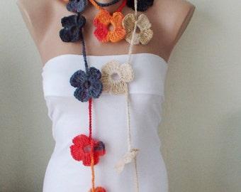 SALE-Flower Scarf, Handmade Crochet , Grey, orange, red and cream mix tones, Flower Lariat, Scarf, Necklace