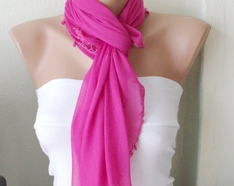 Pink, hot pink  Cotton with Handmade Turkish Lace Spring Scarf