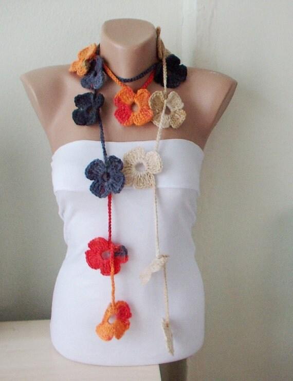 sale flower scarf handmade crochet grey orange and