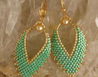 Russian Leaf Earrings - Mint Green