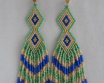 Seed Bead Earrings - SALE - Green/Royal Blue