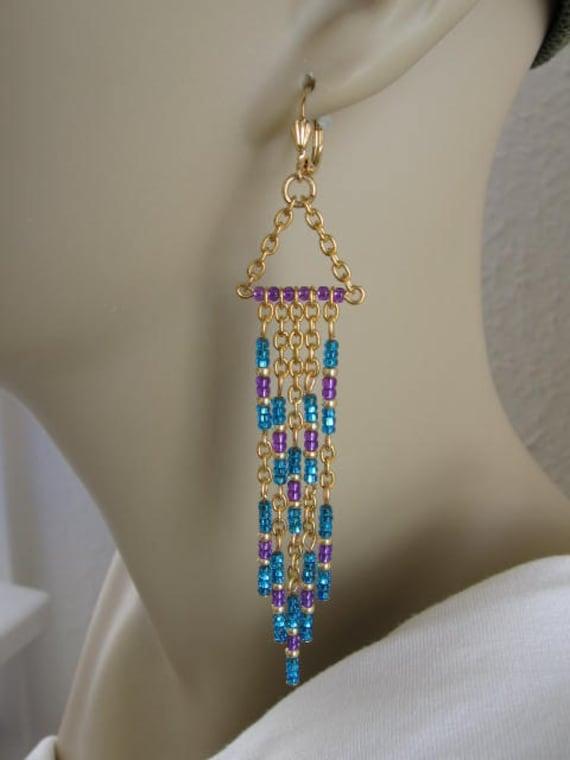 Seed Bead Earrings Modern Native American Style