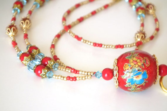 Beaded ID Badge Lanyard, Large Red Wooden Bead, Blue Flowers, Red Round Beads, Blue Crystals, Gold Filigree