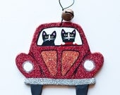 Red Christmas Bug Clay Cat Folk Art Ornament