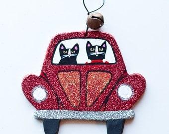 Red Christmas Bug Clay Cat Folk Art Ornament