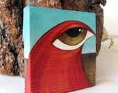 Big Eyed Bird Painting - Mini Canvas - Mixed Media - Turquoise and Red
