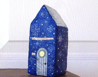 Paper Mache Art Sculpture - Chubby Little House Number 245 - man i' the moon's too slow