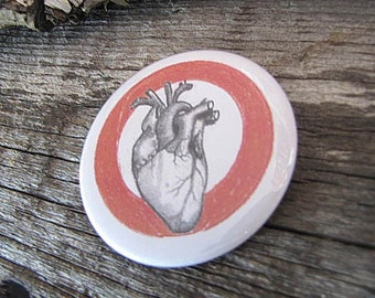 Anatomical Heart Pin Back Button - 2 1/4 Inch