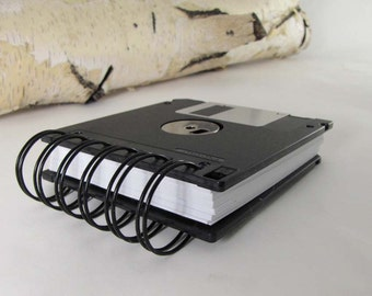 Jumbo Black Computer Floppy Disk Notebook Recycled Geek Gear Blank Mini 125 sheets