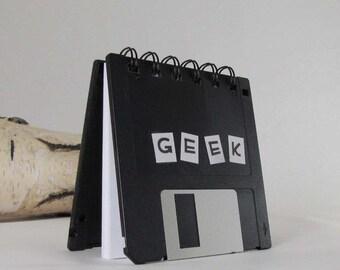 Original Geek Recycled Blank Floppy Disk Mini Notebook in Black