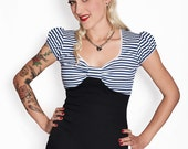 BETSY S04 Blue/White Striped Sailor 50s Shirt XS-L