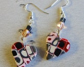 Handmade Beaded Earrings, Valentines Day, Crazy Mod Hearts, Polymer Clay Glass