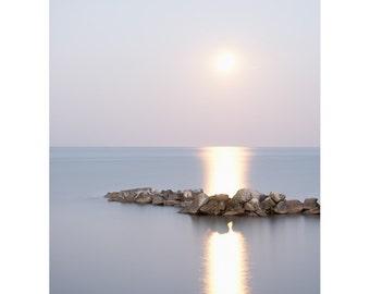 Moon Art Print - Landscape Photography - Inspirational - Lunar - Zen Wall Art - Minimal Art - Moon Pictures - Bedroom Wall Art - Lake Erie