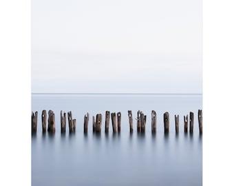 Contemporary Print - Minimalist Modern Art Print - Contemporary Seascape Photography - Limited Edition Beach Art - Blue Wall Art - Lake Erie