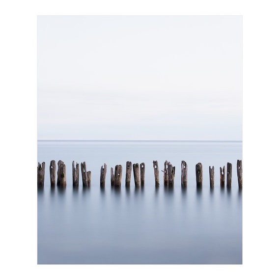 Contemporary Print - Minimalist Modern Art Print - Contemporary Seascape Photography - Limited Edition Beach Art - Blue Wall Art - Lake Erie
