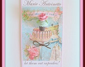 Marie Antoinette Inspired - Aqua Cupcake with Pink Rose Pin Topper
