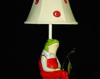 Fishing Frog Nursery Lamp, Frog Nursery Lamp, Fishing Theme Room, Kid's Lamp, Boy's Room Lamp