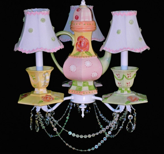 Teapot Chandelier - Tea Cups and Saucers Chandelier -  Shabby Cottage Lighting