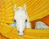 Pegasus Fantasy Horse Baby Fine Art Print 5x7 Peek A Boo