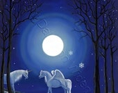 ACEO Pegasus Unicorn Fantasy Winter Art Print