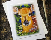 Card Deer Fawn with Envelope whimsical Cute Wildlife