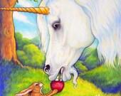 Unicorn Horse ACEO Rabbit Fine Art Print The First Apple