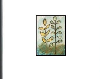 Forest Ferns Painting Artwork - ACEO - Original Oil Pastel Artwork
