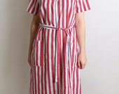 Candy Striped Dress - Vintage Striped Basic Tunic Dress -  Medium to Large