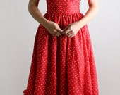 Vintage Prom Dress Gunne Sax Wedding Dress Jessica McClintock - Polka Dot Tulle Maxi Small 1980s Valentines Sweetheart Fashion
