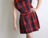 Vintage Plaid Mini Dress - Cherry Red and Dark Navy Blue - For The Taller Busty Girl - Large XL