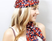 Vintage Turban Hat and Scarf - Matching Vintage Red White and Blue Woven Pattern